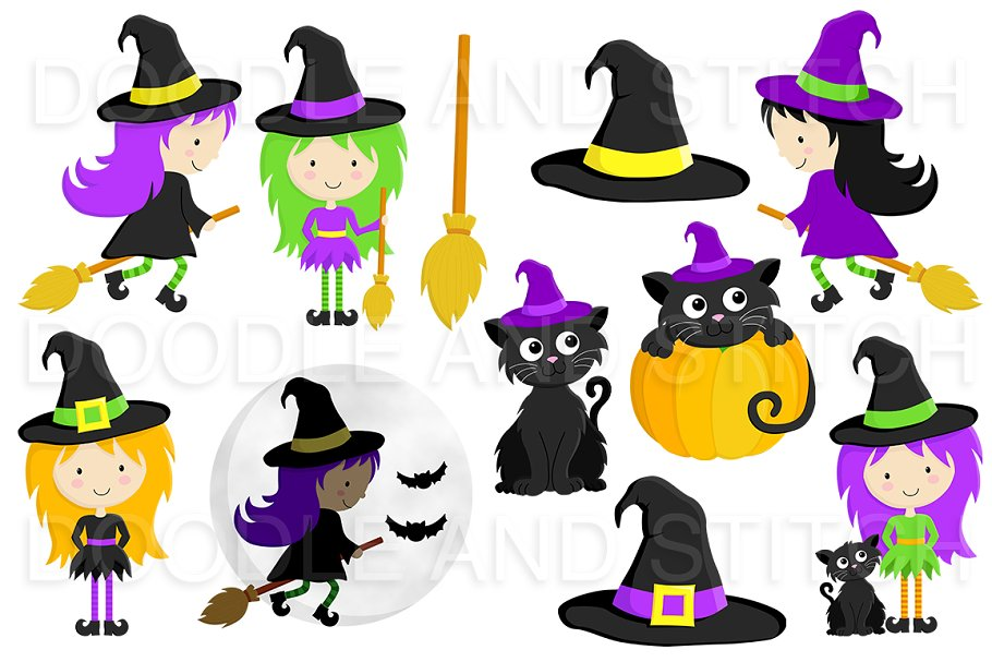 Halloween Witch Clipart Designs Custom Designed Illustrations