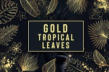 Gold Tropical leaves and Gold Splash