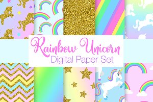 Rainbow Unicorn Digital Papers