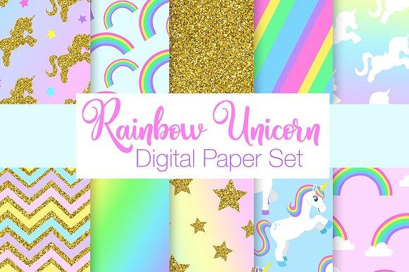 Rainbow Unicorn Digital Papers