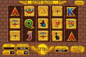 Egyptian background main interface and buttons for casino slot machine game, symbols egypt