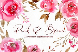 Romantic Watercolor Pink Flowers PNG