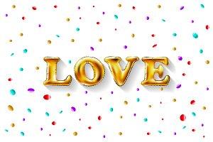 Love Gold Foil Balloon vector