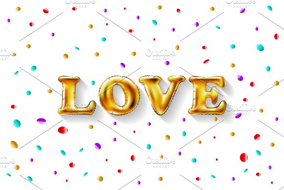 Love Gold Foil Balloon Vector
