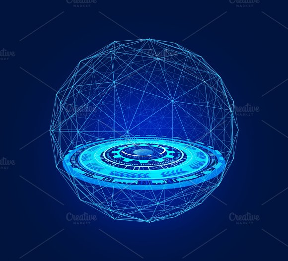 HUD In Sphere Shape With Network Connection Lines In Technology Concept 3D Abstract Illustration