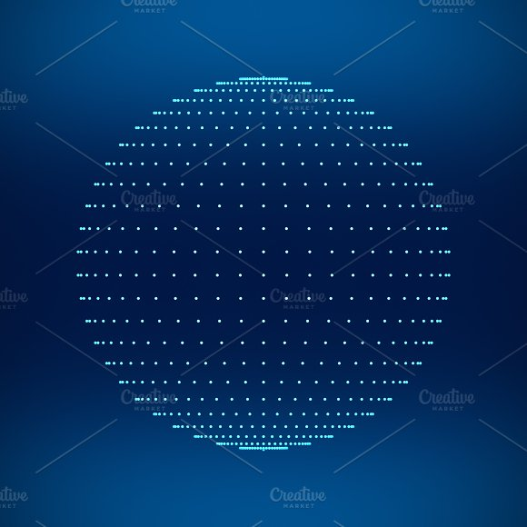 Blue Sphere Network Connections With Dots On Black Background In Technology Concept 3D Illustration