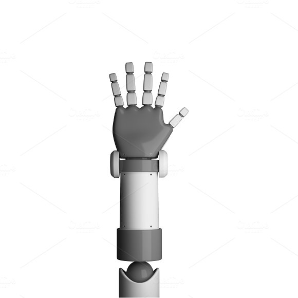 Robot Palm Isolated On White Background In Futuristic Technology Concept 3D Illustration