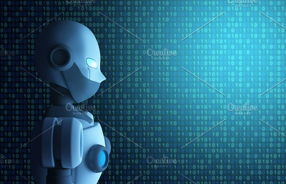 Robot With Binary Data Code Artificial Intelligence In Futuristic Technology Concept 3D Illustration