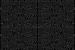 White circuit board on black background. High-tech technology background. Seamless texture pattern. illustration.