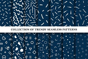 Trendy seamless memphis patterns set