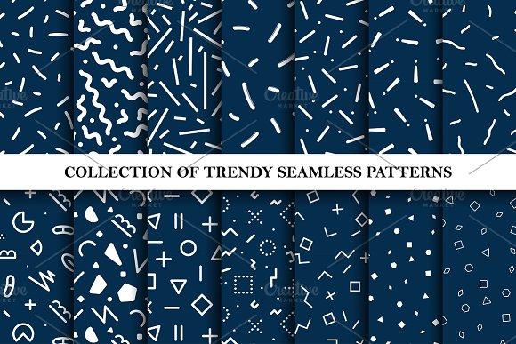 Trendy Seamless Memphis Patterns Set