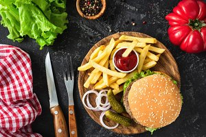 Beef burger with lettuce and fries