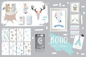 Cute boho element and cards