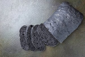 Sliced black bread