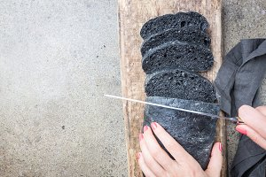 Sliced black bread