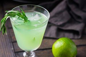 Bright green lemonade