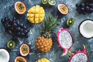 Exotic tropical fruits flat lay