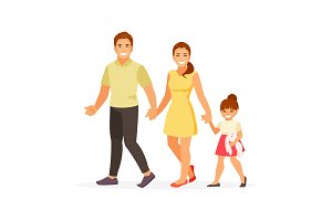 Walking family vector