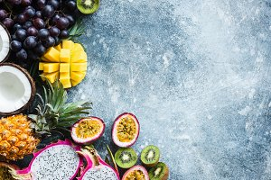 Fresh tropical fruits exotic fruits