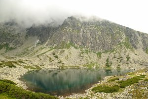 Scenery of high mountain with lake and high peak.