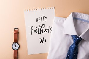 Fathers day greeting card concept. Flat lay.