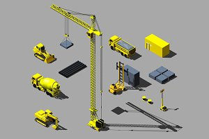 Construction vehicle and objects.