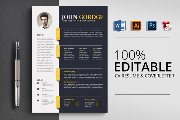 Word Professional Reusme Design Resume Templates Creative Market