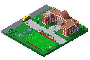 School building isometric vector