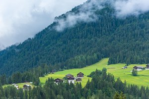 Traditional houses in Alps