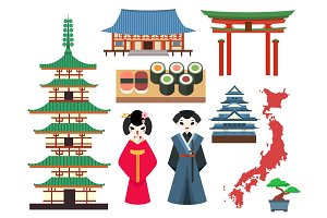 Vector flat colored symbols of Japan travel and asia tourism design packaging fabric traditional fuji oriental architecture art.