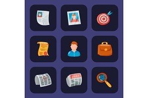 Vector job search icon set office concept human recruitment employment work illustration.