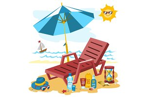 Summer time season sea beach shore background nature tropical travel vector illustration.