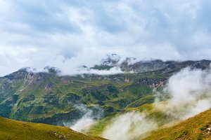 The Grossglockner mountains in foggy