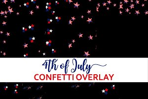 4th of July Confetti Overlay Clipart
