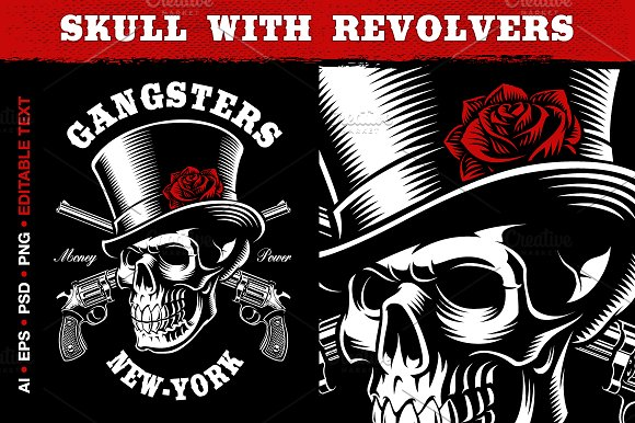Skull With Revolvers