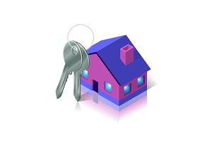 Bunch of keys and house. Apartment and flat renting.
