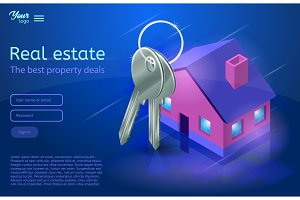 Bunch of keys and a house. Apartment and flat renting. Ultraviolet vector illustration.