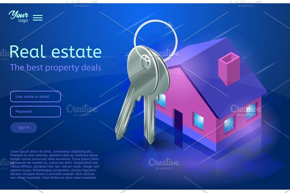 Bunch Of Keys And A House Apartment And Flat Renting Ultraviolet Vector Illustration