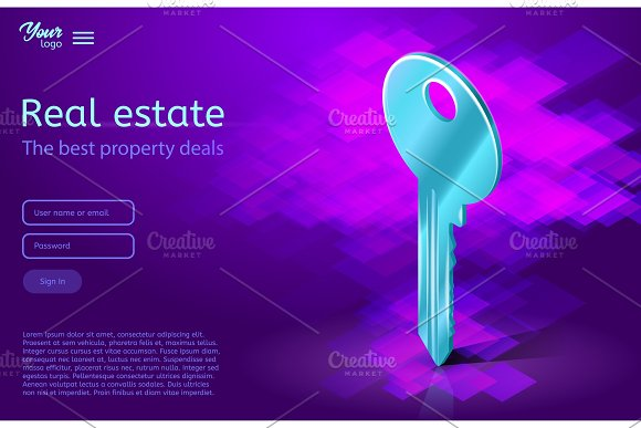 A Key Ultraviolet Vector Illustration Real Estate Concept