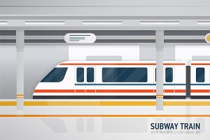 Subway train, underground platform