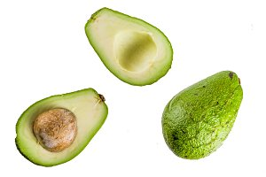 Avocado on white background