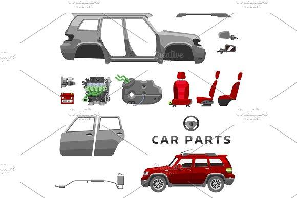 Car Service Parts Flat Auto Mechanic Repair Of Machines And Equipment Vector Illustration