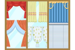 Window curtains and room blinds jalousie for house or creative home interior vector illustration.