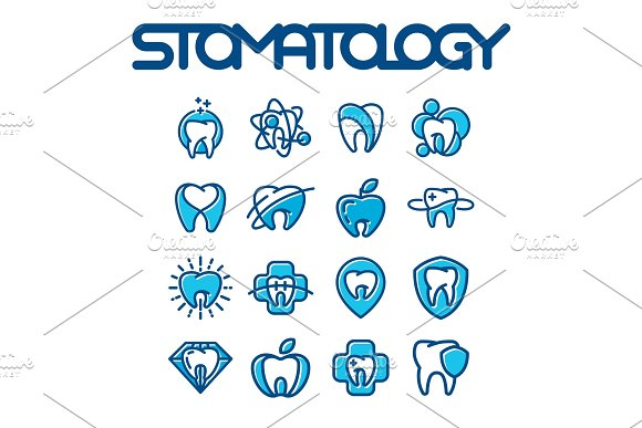Vector Dental Label Protection Template Illustration Abstract Stomatology Mouth Graphic Oral Element