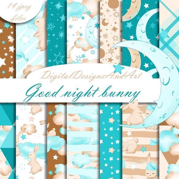 Good Night Bunny Papers In Blue