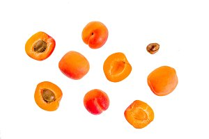 Apricots on white background