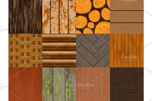 Wood Vector Seamless Pattern Wooden Background Texture And Natural Hardwood Material Textured Backdrop Set Illustration
