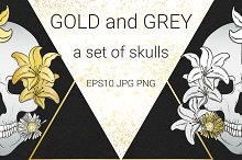 Gold and Gray. Set of skulls