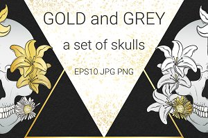Gold and Gray. Set of skulls