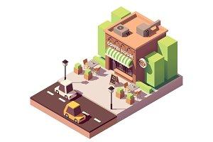 Vector isometric coffee shop